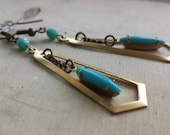 Vintage turquoise and brass dangle earrings