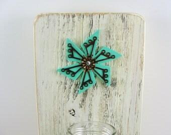 wall hanging, vase, milk bottle, upcycled cedar, metal flower