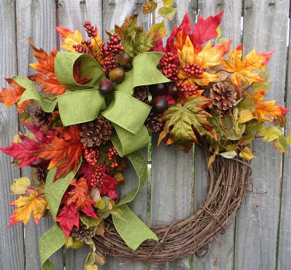 Horn 39 s handmade front door wreaths christmas wreaths tree topper bows - Fall natural decor ideas rich colors ...