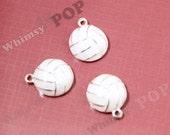 1 - White Sport Volleyball Charm Pendant, Sport Charms, Ball Charm, Volleyball Charm, Volleyball Pendant, 25mm (R8-179)