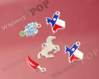 5 - Texas State Charms, State Charm, Texas Charm, State Flower Charm, Chili Pepper Charm, Texas Pendant, Horse Charm (3-5G)