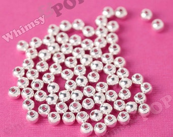 4mm - Silver Round Spacer Beads,  Mini Spacer Beads, 4mm Spacer Beads, 1.5mm Hole, 50 - 250pcs (R9-084)