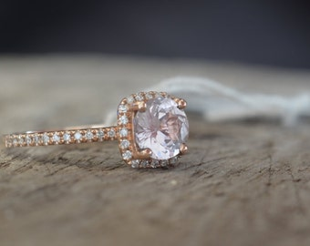 Certified 1.17 carat Untreated peach champagne sapphire, rose gold, diamonds halo engagement ring 1196P-ANN