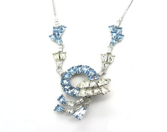 Rhinestone Pendant Necklace. Pale Blue Clear Crystal Rhinestone Jewelry. 1950s Vintage Star Art Sterling Silver. Old Hollywood Jewelry.