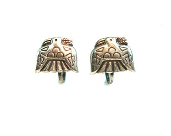 Peyote Bird Earrings. Native American Thunderbird Jewelry. Small, Embossed Sterling Silver. Vintage 1960s Plains Indian Style Jewelry.