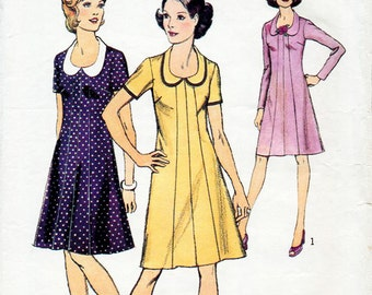 1970s Panelled A Line Dress Pattern Style 4163 Vintage Sewing Pattern Summer or Winter Knee Length Low Collar Dress Bust 34 FF Unused
