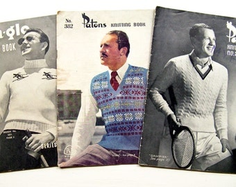 1940s 1950s Vintage Knitting Patterns For Men x 3 Original Sun Glo and Patons Books Patterned and Fair Isle Sweaters Cardigans & Vests