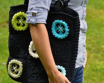 Crochet pattern - Big buttons bag by VendulkaM - crochet bag pattern, digital, DIY, pdf