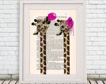 Giraffe Acrylic Painting, Bubblegum Giraffe, Print and Painting, Pink, Giraffe Decor, Wall Hanging, Colorfull Wall Art, Coco de Paris Art