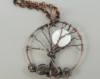 Copper Tree of Life Necklace, Wire Wrapped Tree Jewelry, Moon Necklace, Copper Jewelry