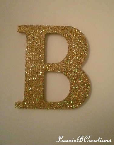 Gold antique gold glitter wall letters in by lauriebcreations for Gold letters for wall