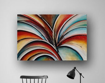 Abstract Flower Painting, Lily Painting, Red & Blue Painting, Large Painting on Canvas, Original Painting, Colorful Art, 36x24 Heather Day