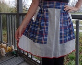 1950s 1940s Apron Skirt Plaid & Sheer Print Vintage Eco geek zig zag quilt 1/2 bakery Pinup Chef cook Handmade Handsewn