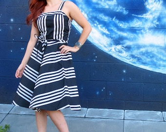 1950s sun Dress circle skirt cotton stretch black white stripe strappy pinup sailor dream vintage //  S / medium / L