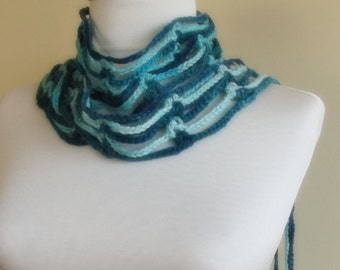 hand crocheted floral scarf lariat necklace gift for her blue