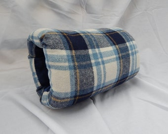 Blue and white plaid man's muff