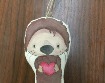 Significant Otter-A Handpainted Otter Ornament or Art Doll for Valentine's Day