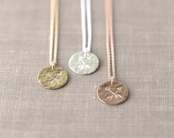 Crossed Arrows Friendship Necklace - Hand Stamped Friend Gift - Inspirational Jewelry - Sterling Silver, Rose Gold Filled or Gold Filled