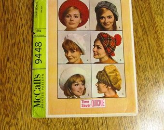 VINTAGE 1960's Tam Hat / Beret - MOD Retro Style Hats for Modern Fashionable Ladies - UNCUT Vintage Sewing Pattern McCalls 9448