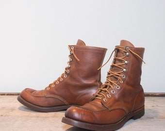 9.5 B | 1960's Vintage Moc Toe Work Boots w/ Armortred Cork Soles