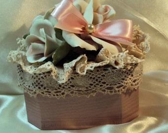 Capodimonte Rose Cluster Shabby Chic Keepsake Box/Trinket Box/Memory Box #130