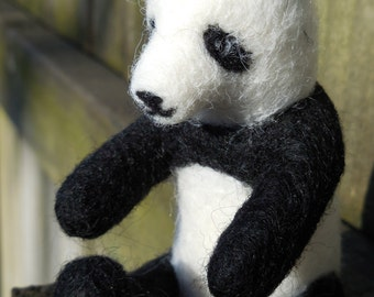 Felt Panda Bear Figurine / Needle Felted Wool Miniature Panda Sculpture / Black and White Wool Felt Animal / Waldorf Soft Toy