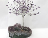 Purple Tree of Life, Amethyst Tree of Life Candle Holder, Amethyst Wire Wrapped Tree Centerpiece, Amethyst Candle Holder