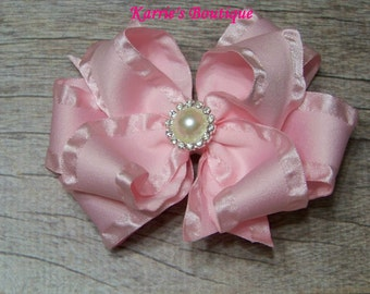 Pink Double Ruffle Ribbon Bow / Over the Top Hair Bow / Flower Girl / Pageant /  Photo Prop / Infant / Baby / Girl / Toddler / Boutique