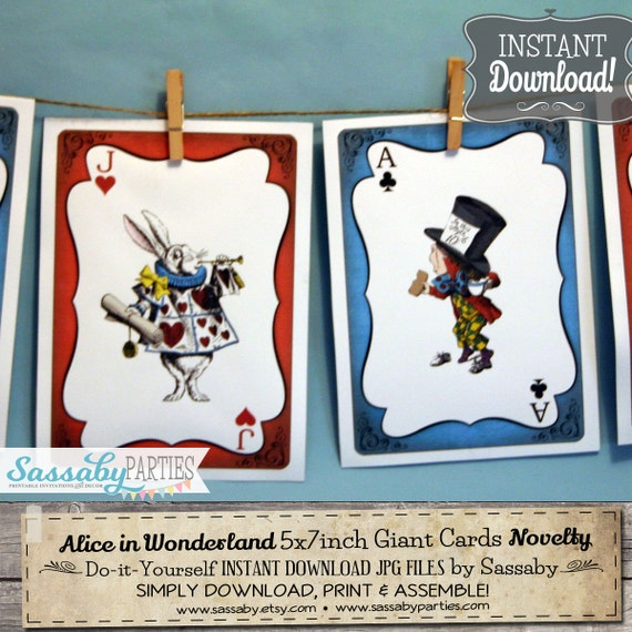 Alice in Wonderland Giant Cards - INSTANT DOWNLOAD - Printable Birthday Baby Shower Party Decoration by Sassaby Parties