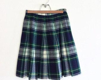 Vintage Plaid Wool Skirt By Garland