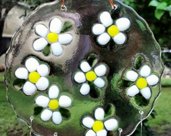 Happy Daisies Fused Glass Wind Chimes