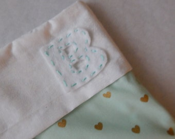 Mint with Gold Hearts Christmas Stocking