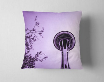 Seattle Space Needle Purple Home Decor Decorative Throw Pillow - Purple Pillow, Purple Pillowcase - 16x16, 18x18, or 20x20 Pillow Available