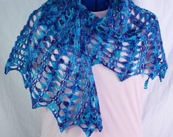 Lacy Blue Merino Wool Crochet Shawl