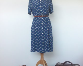 Vintage 80s 90s Laura Ashley Floral Shirt Day Tea Dress UK12