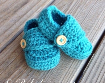 Aqua Baby Boy Loafer Booties shoes newborn 0-3 3-6 6-9 9-12 mos baby shower gift photography prop blue turquoise