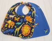 Baby Bib/Infant--18 mo./Set of Two Bibs/Origami Oasis/Organic Fleece Back