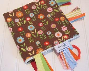 Sensory Ribbon Blanket,Lovey,Tag Blanket/Flowers in Brown/Organic Cotton Fleece