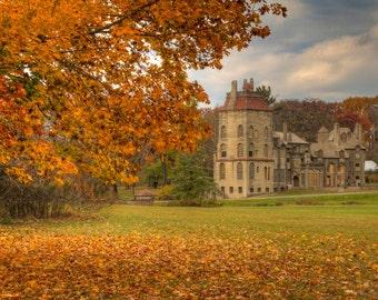 Fonthill Caste in Autumn Landscape Photograph Fall Foliage Orange Fine Art Photography Zen Doylestown Bucks County Pennsylvania Art Print
