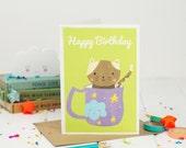 Cat Happy Birthday Card - Happy Birthday - Kids Birthday Card - Kawaii Birthday Card - Card For Children - Tea Birthday - Card For Her