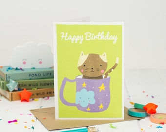 Cat Happy Birthday Card - Happy Birthday - Kids Birthday Card - Kawaii Birthday Card - Card For Children - Tea Birthday - Card For Her