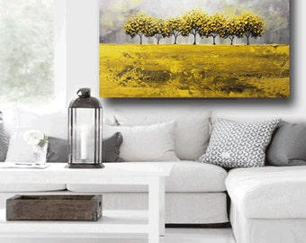 ORIGINAL Art Abstract Painting Yellow Grey Trees LARGE Art Textured Coastal Wall Decor Autumn Gold White Horizon Canvas - Christine Krainock
