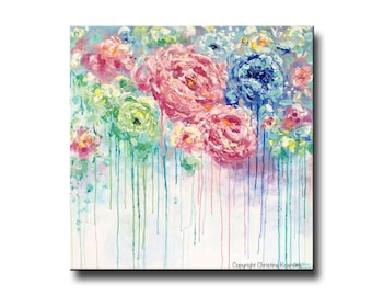 ORIGINAL Art Abstract Painting Modern Floral LARGE Art Colorful Home Decor Wall Art Acrylic Blue Pink White Flowers Peony Christine Krainock