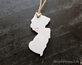 New Jersey State Clay Tag -Trenton, Atlantic City, Ornament, Gift Wrap & Decoration