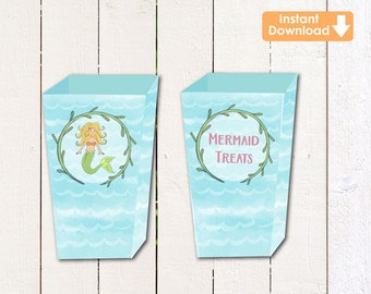 Mermaid/ Under the Sea (instant download) printable treat boxes