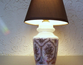 Rose Motif Milk Glass Table Lamp