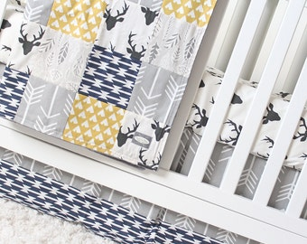 Woodlands Crib Bedding - Black, Navy Blue, Mustard Teepee and Gray Arrow Baby Bedding