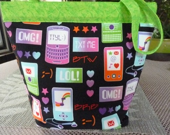 Handcrafted TXT ME/ OMG Snap Handle Purse/ Tote Bag