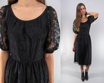 Vintage 70s Lace Dress, Floral Lace Dress, Boho Dress, Black Lace Dress, Party Dress, Midnight Hour Dress Δ size: xs / sm