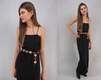 On Sale - Vintage 70s Crepe Maxi Dress, Disco Dress, Front Slit Dress, Minimalist Black Dress Δ size: xx-sm / x-sm